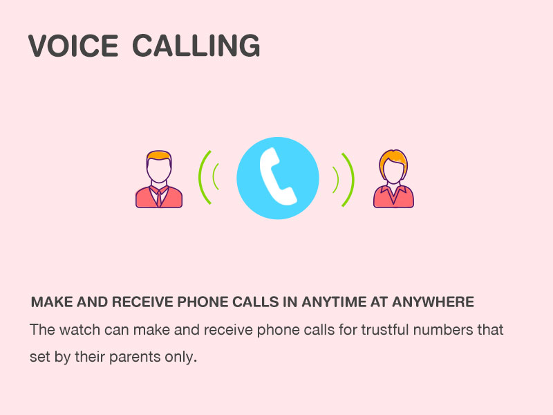 Voice CAlling MAKE AND RECEIVE PHONE CALLS IN ANYTIME AT ANYWHEREThe watch can make and receive phone calls for trustful numbers that set by their parents only.