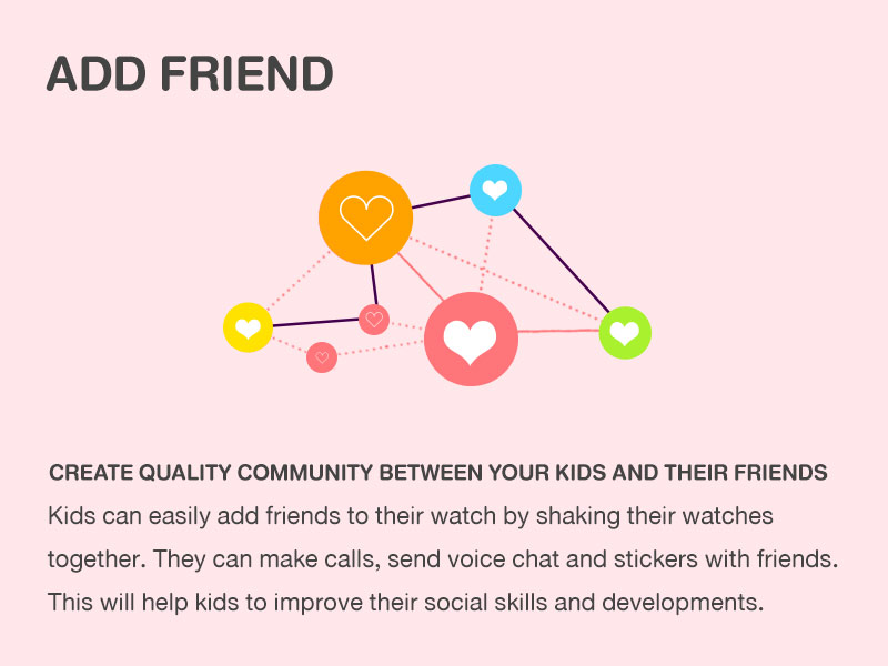 Add Friend CREATE QUALITY COMMUNITY BETWEEN YOUR KIDS AND THEIR FRIENDS Kids can easily add friends to their watch by shaking their watches together. They can make calls, send voice chat and stickers with friends. This will help kids to improve their social skills and developments.