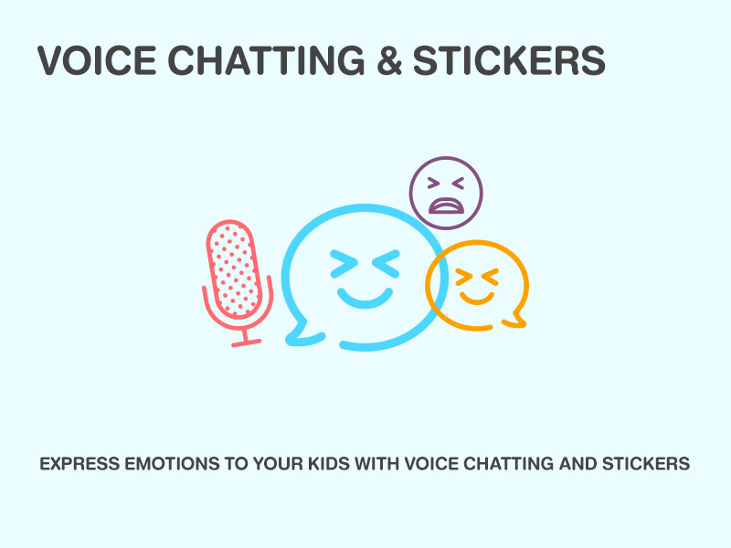VOICE CHATTING & STICKERS EXPRESS EMOTIONS TO YOUR KIDS WITH VOICE CHATTING AND STICKERS